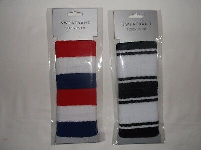 Forever 21 active striped sweatbands black & white or red white & blue nwt
