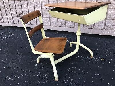 Antique Student School Desk, Metal Frame, Wood Top & Chair, Beautiful Finish