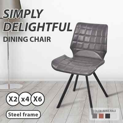 vidaXL 2/4/6pc PU Leather Dining Chair Padded Seat Steel Leg Kitchen Furniture