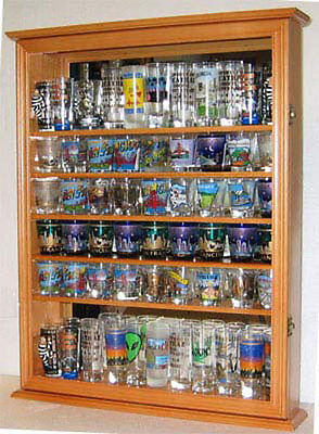 72  Shot Glass or 44 Shooter Display Case Rack Wall Cabinet, Glass Door, SC13-OA