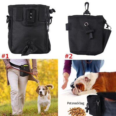 Pet Dog Puppy Treat Bag Training Waist Pouch Walk Snack Carrier Storage Black