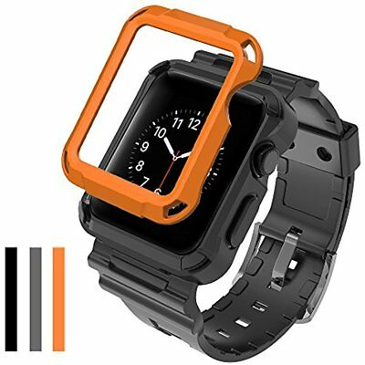 3 Cover Case Rugged & Strap For Apple Watch Band 42mm Series Orange Grey Gold