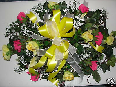 Silk Floral Shop 24/7 online Yellow Pink Roses Berry Cemetery Ivy Grave Pillows