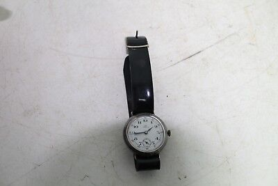 Antique Vintage Old Swiss Omega Cal. 128B  Mens Wrist Watch Officer Military WWI