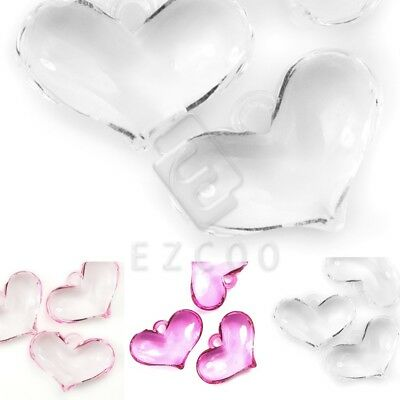 8pcs Flat Heart Acrylic Beads Spacer Transparent DIY Jewellery 20x29mm Findings