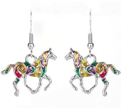 Horse & Western Jewellery Jewelry Ladies Colourful Horse Earrings Silver