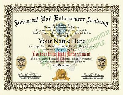 BAIL ENFORCEMENT AGENT DIPLOMA PROP - (Custom With Your Name) CERTIFICATE - USA
