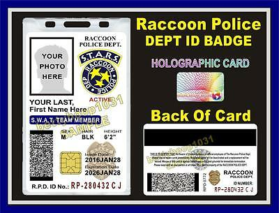 RACCOON POLICE DEPT ID Badge / Card ***CUSTOMIZABLE*** Resident Evil S.T.A.R.S.