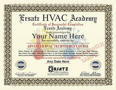 Diploma - HVAC ACADEMY COURSE Certificate **CUSTOM WITH YOUR NAME & DATE** Prop