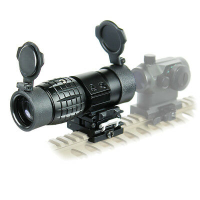 3X Magnifier Scope Sight with Flip To Side 20mm Rail Mount Scopes & Lens Caps