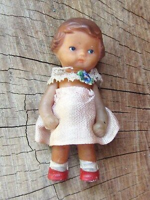 Vintage Antique German Ari Small Rubber Girl Doll Toy - Signed Germany