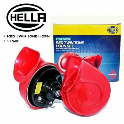 Genuine Pair Red Twin Tone Hella Horn Set 12V Ute 4x4 4WD SUV Truck Car Hon Horn