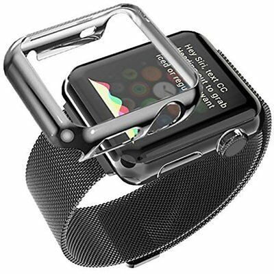 38mm Plated Gloss Cover Case & Band Accessory Strap For iWatch Apple Watch Black