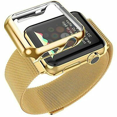 38mm Plated Gloss Case & Band Accessory Strap For iWatch Apple Watch Gold Color