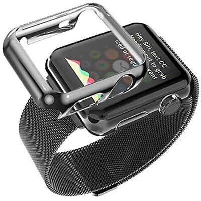 42mm Plated Gloss Cover Case & Band Accessory Strap For iWatch Apple Watch Black