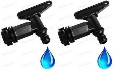 2 x Water Butt Tap Replacement Hose Pipe Tap Release Universal Barrel Connector