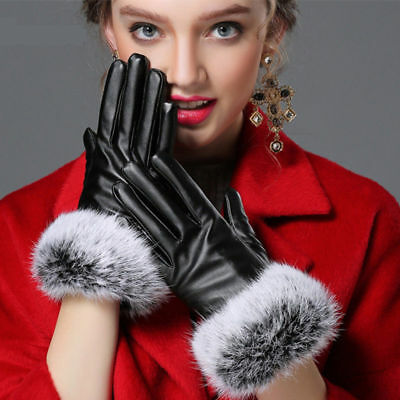 Charming Women Real Leather Gloves Autumn Winter Lady Warm Rabbit Fur Mittens