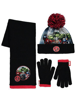 George Boys Kids Official Marvel Avengers Superhero Bobble Hat Gloves Scarf Set