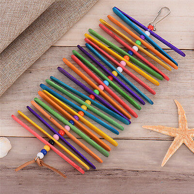 Caitec Popsicle Wooden Sticks w/Beads Teeth Chew Toy Climbing for Pet Birds