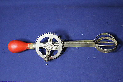 Vintage Red Knob Handle A&J Wire Crank Egg Beater Mixer Dasher AAFA