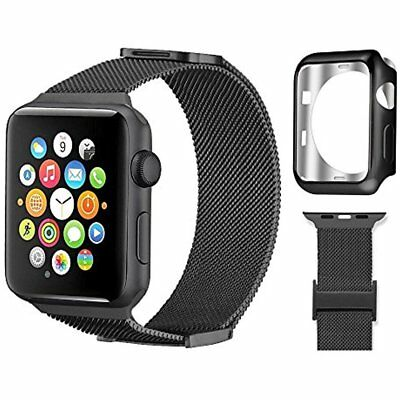 Stainless Steel Band 38mm Strap Soft Case Cover For Apple Watch IWatch Black