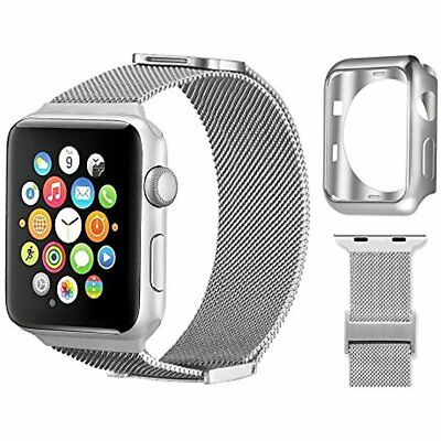 Stainless Steel Band 38mm Strap Soft Case Cover For Apple Watch IWatch Silver