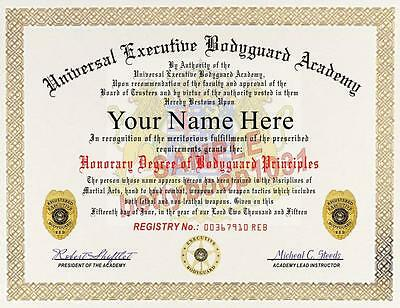 EXECUTIVE BODYGUARD Diploma / Certificate Prop - Custom With Your Name