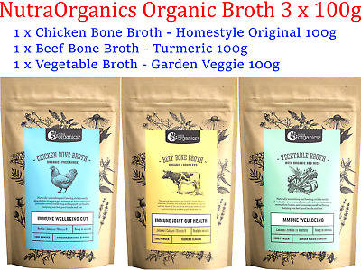 Nutra Organics Organic Assorted Bone Vegetable Broth Powder VALUE PACK  3 x 100g