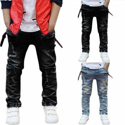 Toddler Kids Boys Cool Fashion Patch Jeans Casual Denim Long Pants Trousers 3-7Y