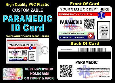 PARAMEDIC ID Badge / Card (PVC) >CUSTOM W YOUR PHOTO/INFO< SCANNABLE QR CODE EMT