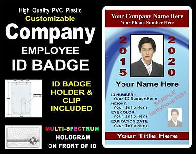 Custom COMPANY / EMPLOYEE ID Badge / Card >CUSTOM W/ Your PHOTO & INFO< PVC ID