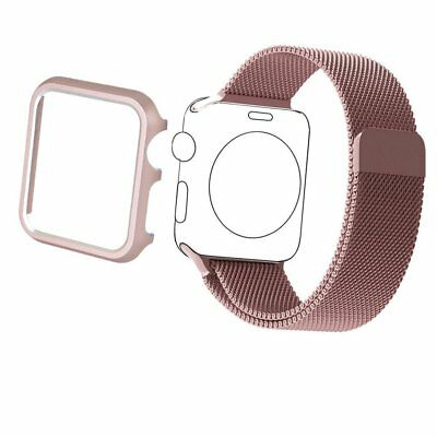 Stainless Steel Band Strap 38mm & Aluminum Case For Apple Watch iWatch Rose Gold