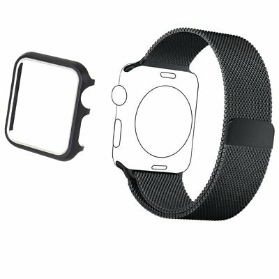 Stainless Steel Band Strap 38mm & Aluminum Case For Apple Watch iWatch Black