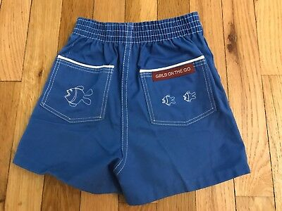 Vintage 1970s Montgomery Ward Brand Girls on the Go Blue Shorts - 6X #143