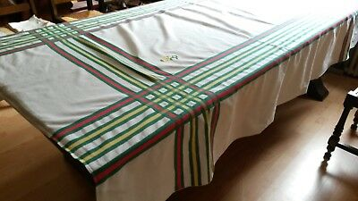 Ancienne nappe N02 coton typ Basque 152X215 Monogr BR OLD COTTON TABLECLOTH