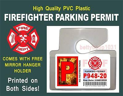 Firefighter (PARKING PERMIT) ID Card / Badge Prop - W/ FREE MIRROR HANGER PVC