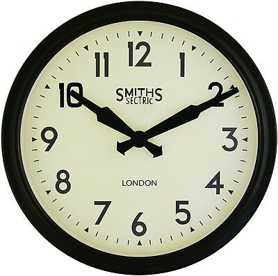 Smiths Sectric Retro Wall Clock in Black - 38cm