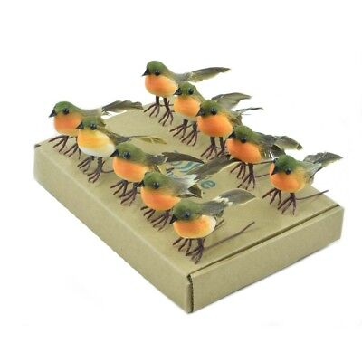 New 10PC Very Cute Artificial Feather Robin Bird Christmas Tree Decoration Craft