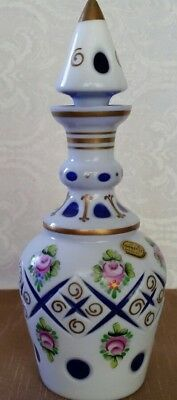 Vintage Bohemian Moser White To Cobalt Glass Decanter Enamel Painted Roses