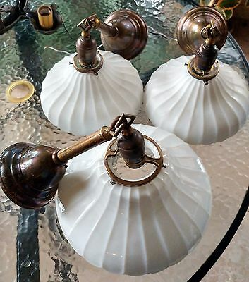 THREE 1910s Vintage Scalloped Milk Glass Pendants in 9in & 11in - Great Patina!