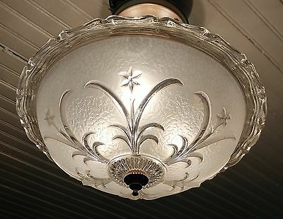 Vintage Semi-Flush Mount Three Light Glass Ceiling Fixture - Ready to Use!