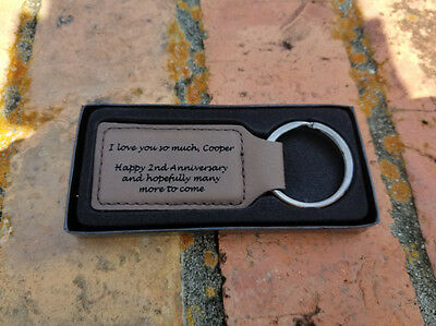 2 Sided Personalized Engraved Brown Leather Rectangle Keychain Keyring Key FOB