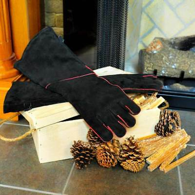 Long Arm Fireplace Gloves - 20'' Long - Black