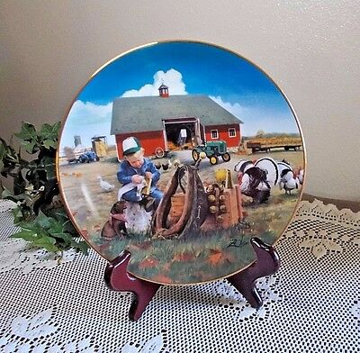 Little Farmhands TOO BUST to PLAY Plate by Donald Zolan Farm Danbury Mint