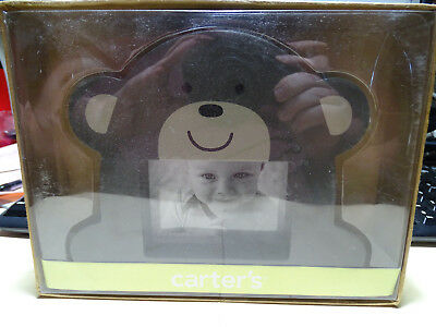 "Carter's Baby Wood Brown Bear Frame 3.5"" x 2.5"" Picture 6 3/4"" X 5 1/2"" Overall"