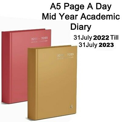 2019 - 2020 Academic Diary Mid year A5 hard back Page A Day View teacher student