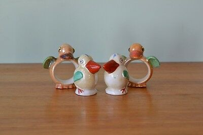 vintage bird / pelican salt & pepper shakers & napkin rings Art deco