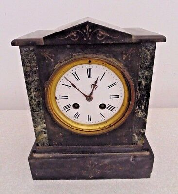 Vintage Antique Japy Freres Marble Slate Mantel Mantle Clock Art Deco French