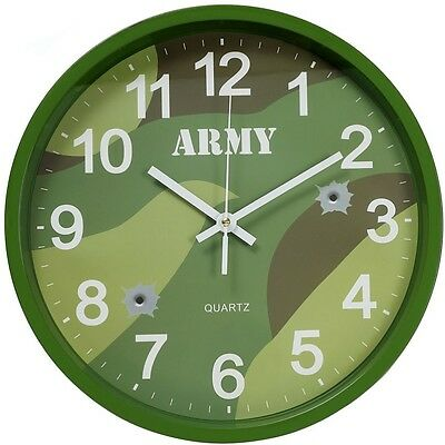 Army Camouflage Wall Clock Dpm Woodland Camo Boys Cadets Kids Bedroom Office