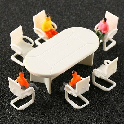 2 Sets Conference Room Table&Chairs Plastic Settee Railway Model 1:50 Scale